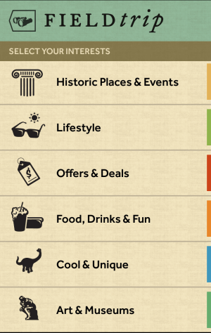 Google Field Trip lets you select which types of interests you'd like to be notified about. Click for a larger preview.