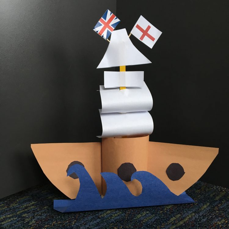 """""""Mayflower"""" Ship made out of construction paper"""