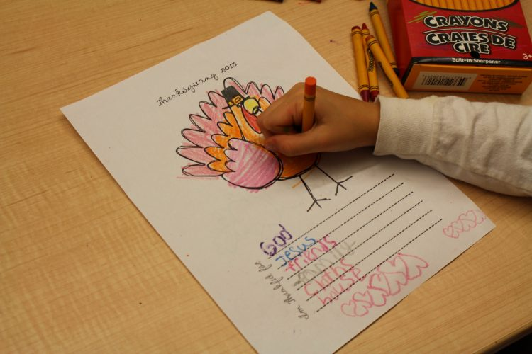 Coloring in turkey with crayon