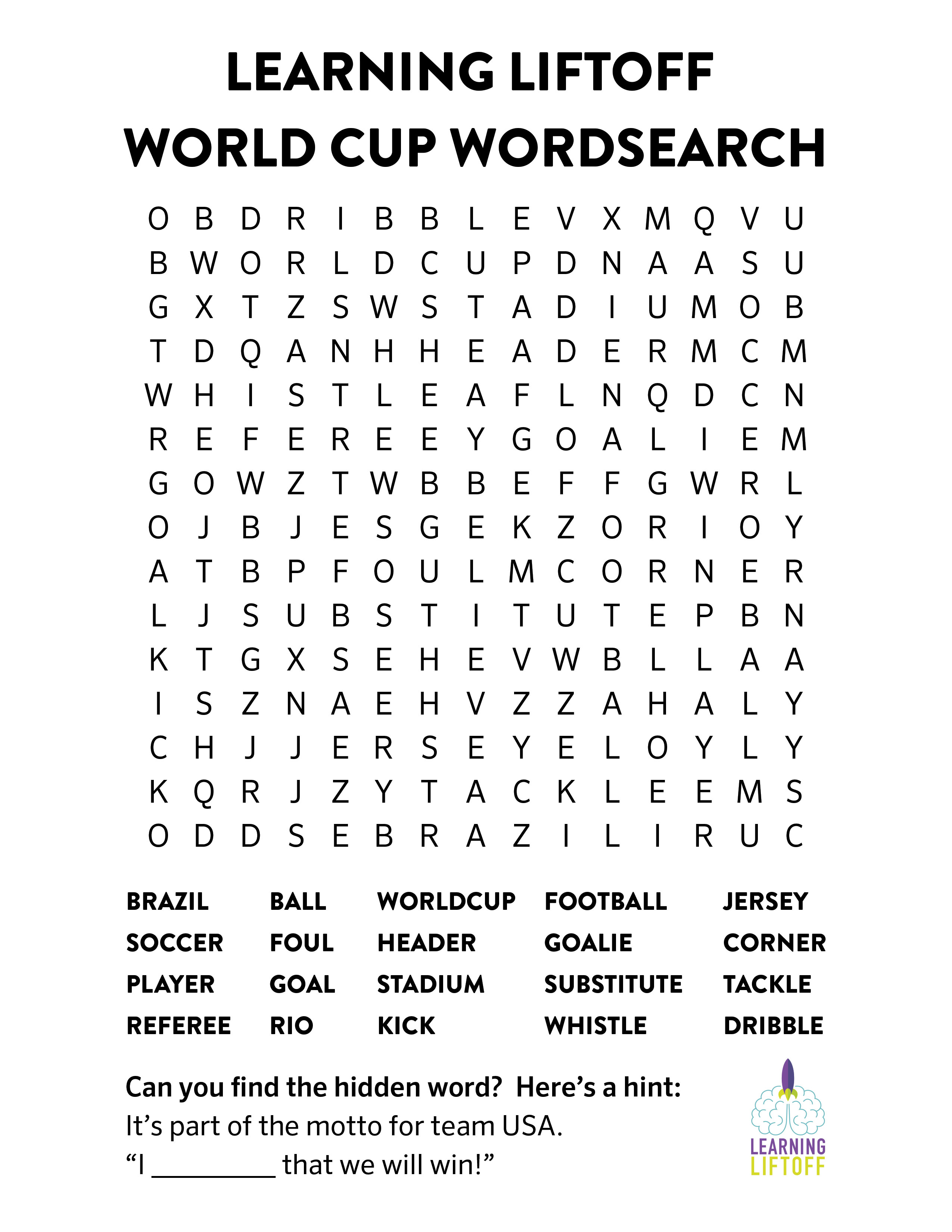 Soccer Word Search Printable