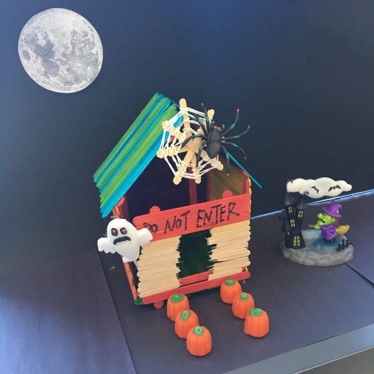 Haunted house made out Popsicle sticks