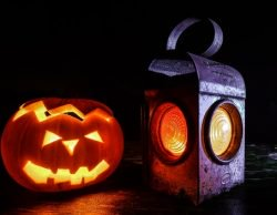 carved pumpkin and a lantern