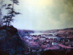 A painting that depicts the area of Willamette Falls in Oregon City, Oregon, in the 1800's.