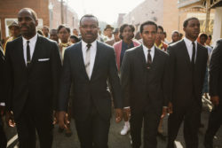 "This photo released by Paramount Pictures shows, from left, foreground: Colman Domingo as Ralph Abernathy, David Oyelowo as Dr. Martin Luther King, Jr., AndrÈ Holland as Andrew Young, and Stephan James as John Lewis in a scene from the film, ""Selma,"" from Paramount Pictures, PathÈ, and Harpo Films. (AP Photo/Paramount Pictures, Atsushi Nishijima) ORG XMIT: CAET227"