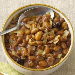 bowl of autumn baked beans