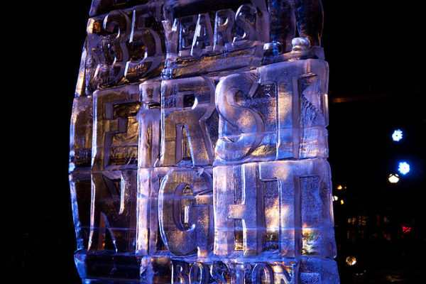 ice sculpture from Boston's First Night