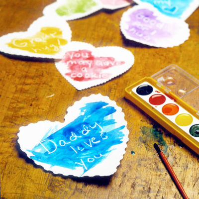 heart shaped cards with message under paint