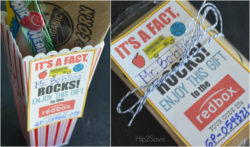 Redbox printable gift tag with popcorn