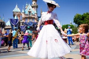 Child and Mary Poppins at Disneyland