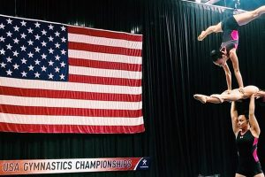 Acro Gymnast Trio Performing