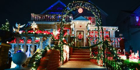 Christmas decoration of a house in Dykers Height, New York City