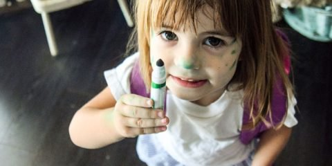girl with marker on her face