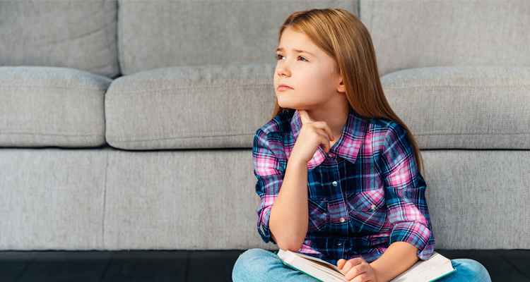 pensive girl with critical thinking skills