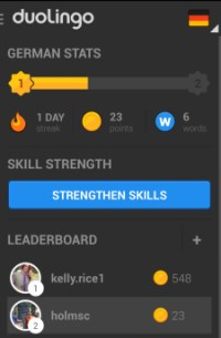 A leaderboard and stats help you understand how well you're doing individually and coompared to your friends. Image source: Duolingo for Android. Click to view full size.