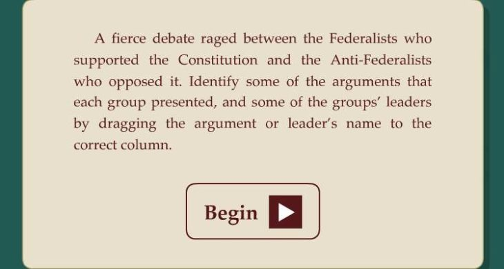 4th 5th grade history learning activity federalist vs anti