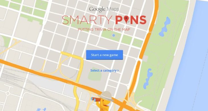 "Google's ""Smarty Pins"" game turns Google Maps into a geographic trivia game."