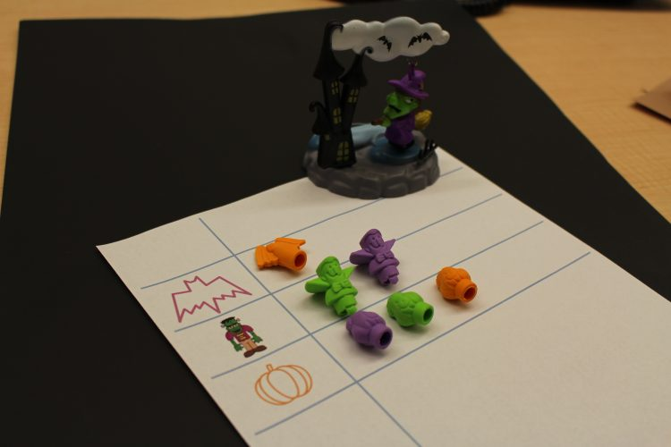 Graphing Halloween inspired erasers