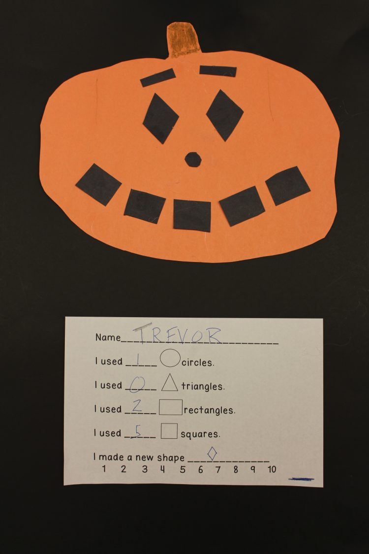 Jack-o'-lantern made out of paper shapes