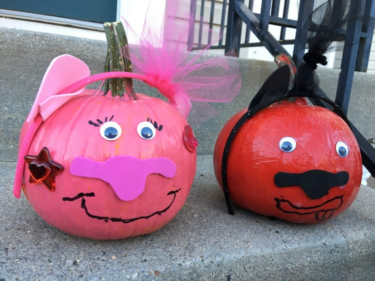 Pumpkins decorated to look like pigs