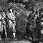 Pilgrims receiving Massasoit - Illustration