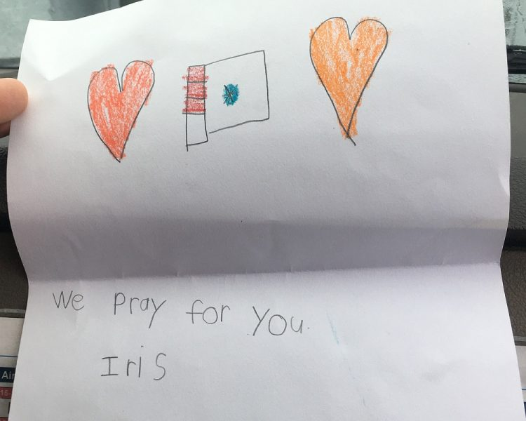 Child's card that says 'we pray for you'