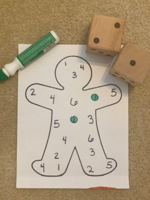 gingerbread traced on paper with numbers 1-6 inside