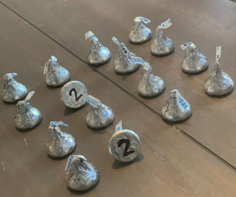 hershey kisses lined up with two matching numbers showing on the bottom