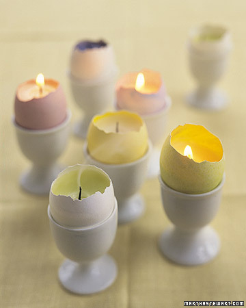 Easter egg shell candles