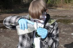 Erik A. pours a sample of river water into a nitrate test.