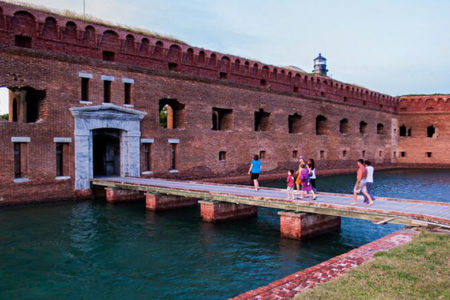 image of Dry Tortugas National Park building with water