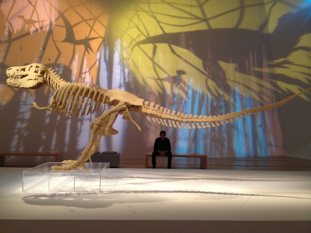LEGO dinosaur skeleton on display