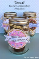 Donuts inside mason jar with gift tag