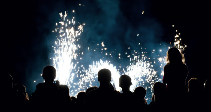people watching a fireworks display