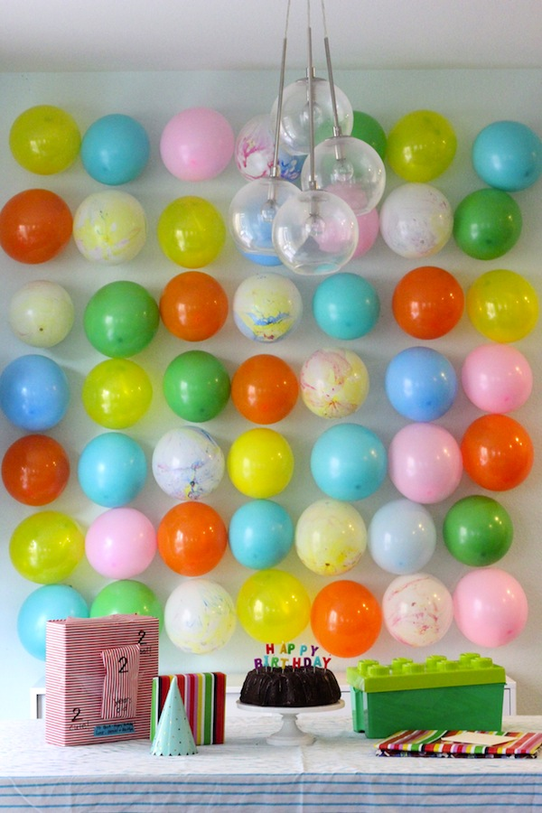 balloons on a wall