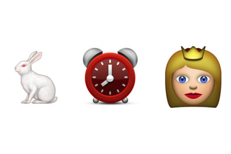 a rabbit clock and queen emoji