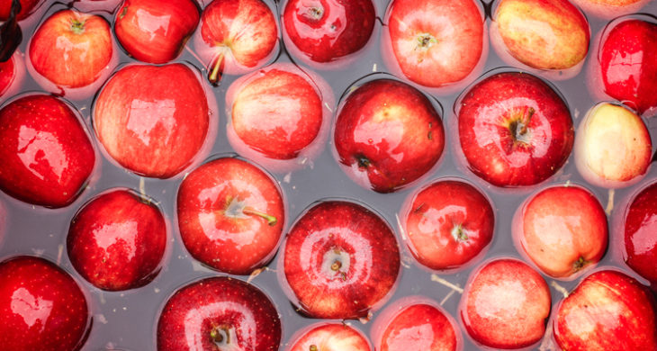 apples in water (for bobbing)