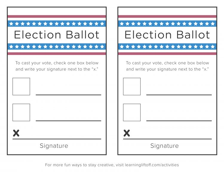 Voting printables for kids learning liftoff for Voting slips template