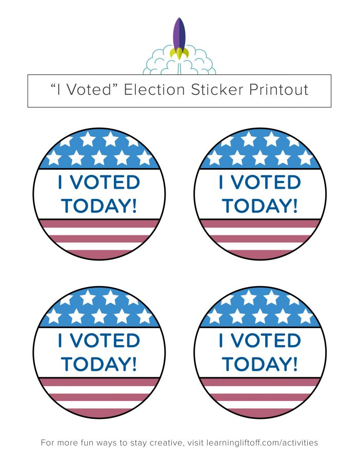 photo relating to I Voted Stickers Printable identified as Voting Printables for Little ones - Finding out Liftoff