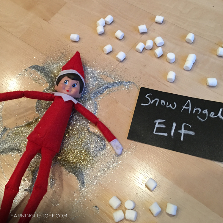 Elf on the Shelf snow angel