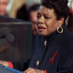 """Maya Angelou reciting her poem """"On the Pulse of Morning"""" at President Bill Clinton's inauguration in 1993."""