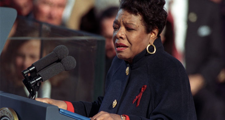 "Maya Angelou reciting her poem ""On the Pulse of Morning"" at President Bill Clinton's inauguration in 1993."