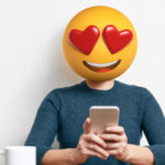 Emoji Head Woman using smart phone