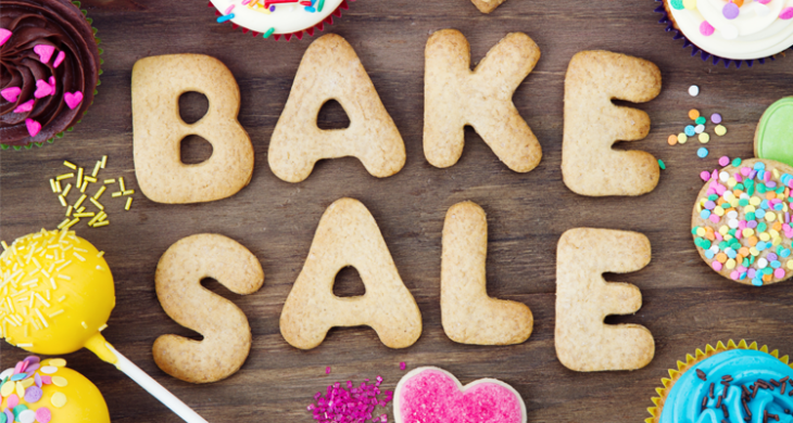 Bake Sale spelled out in cookie cutouts