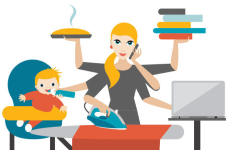 busy stay-at-home mom illustration