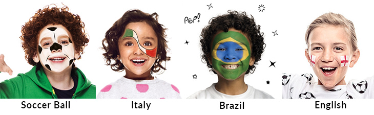 kids with country flags painted on their faces