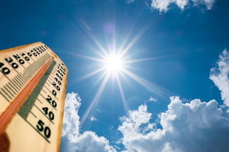 thermometer and bright sun