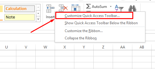 excel screenshot customized access