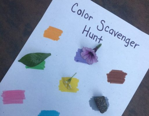 paper with colors and matching items of the same color