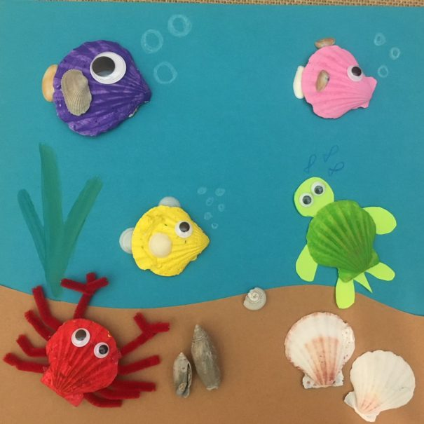 ocean scene with fish made from shells