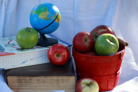 Basket of apples with books and globe